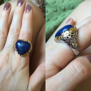 Lapis Stone Heart Swirling Cocktail Ring